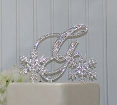 Snowflake Wedding Cake Topper with Initial Monogram &  2 small Snowflakes.  Any letters A B C D E F G H I J K L M N O P Q R S T U V W X Y Z