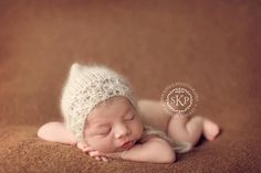 LACE pixie bonnet  hand knit silk kid mohair newborn by silkyknits, $32.00