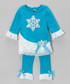 Another great find on #zulily! Rare Editions Turquoise & White Snowflake Tunic & Leggings - Girls by Rare Editions #zulilyfinds