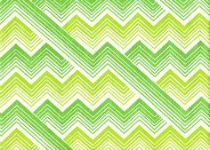Vintage Textile yellow green lime chevron stripes