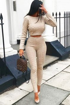 New Women Cable Knit Crop Top Lounge Wear Suit Ladies Co ord Tracksuit Set Loungewear Outfits, Loungewear Set, Sleepwear Women, Women's Sleepwear, Fall Outfits, Casual Outfits, Cute Outfits, Christmas Fashion Outfits, Cute Lounge Outfits