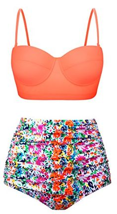 Swiland Women Vintage Swimsuits High Waisted Bikinis Bathing Suits Retro Halter Underwired Top #deals
