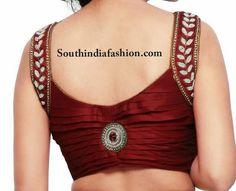Stylish Pearl Embellished Blouse – Trendy sleeveless blouse with pearl work over the shoulders and pleated back with a brooch studded at the center by The Blouse Factory. Best Blouse Designs, Simple Blouse Designs, Stylish Blouse Design, Bridal Blouse Designs, Dress Designs, Choli Blouse Design, Saree Blouse Neck Designs, Blouse Patterns, Sewing Patterns