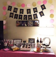 Linda's 30th Birthday (Hotel Room Decor) | Buying of All Supplies, Table Styling, Creating: Signs & Banners, Gift Bags, Cupcake Toppers, Water Labels, Spray Painting Dollar Store Trays | CO #hotelbirthdays #hoteldecorations