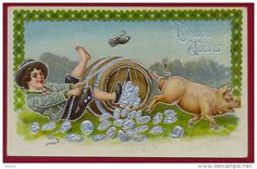 PIG-PIGS/MONEY-HAPPY NEW YEAR, EMBOSSED PICTURE POSTCARD RARE!!!!!!!!!!!! - Pigs