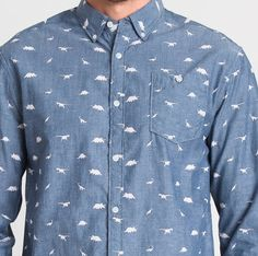 Rock It or Mock It, The Dinosaur Print Button-Down Chambray