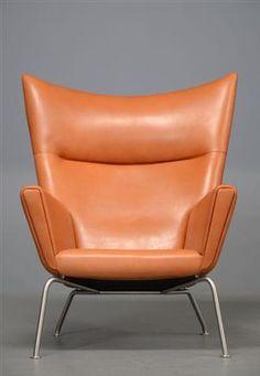 Lot: 3252018 Hans J. Wegner, lounge chair, model CH445, Wing Chair, cognac aniline leather