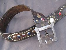 30s 40s VINTAGE STUDDED JEWELED WESTERN MOTORCYCLE BIKER BELT HARLEY SZ 32-36