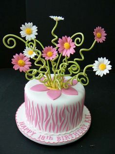 Pinned for the flowers. Pink zebra stripe with gerber daisies cake Gorgeous Cakes, Pretty Cakes, Amazing Cakes, Unique Cakes, Creative Cakes, Cupcakes, Cupcake Cakes, Birthday Cake With Flowers, Flower Birthday