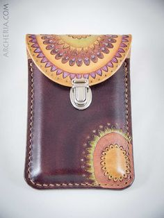 Items similar to Hand carved and tooled leather Iphone 4 case on Etsy