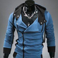 Sweat a capuche Hoodie Men Fashion Gilet sweater Outwear Bleu