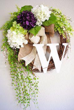 Purple & White Hydrangea Monogram Grapevine Wreath with Burlap. Spring Wreath. Summer Wreath. Housewarming, Wedding, Mother's Day.