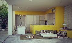 Cucina gialla dal design moderno n.02
