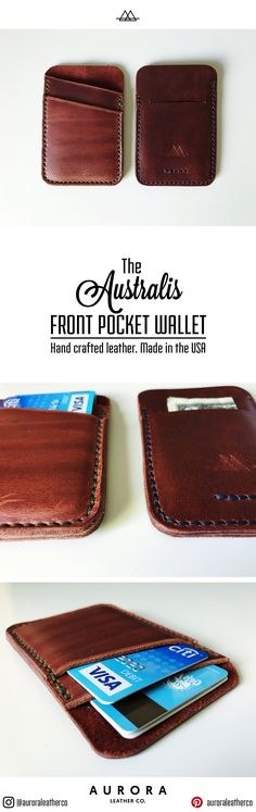 Front Pocket Slim Mens Leather Wallet with Rounded Corners. Perfect gift for your husband, father, brother, friend.
