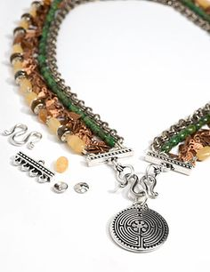 Labyrinth Necklace featuring TierraCast Labyrinth pendant, Beaded 4-1 Bar, Classic M Hook, Bar & Ring clasp ring, and Hammertone bead caps. Design by Tracy Gonzales for TierraCast.
