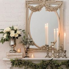 This beautiful mantel swag & bouquet would be equally lovely in winter or in the springtime!  #mantel #candles #mirror #greenery #swag #bouquet #cream #white #green #fancy #elegant #peaceful #love #beauty #beautiful #happy #smile #candlelit #candlelight #pretty #chic (regram # @victoriamagazine via @latergramme )  #SpringGreenInteriorDesign #SpringGreenDesign #SpringGreenLoves