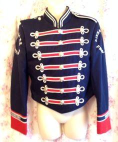 Vtg Military Marching Band Ringleader Ornate Jacket Sgt Pepper Punk Blue XS S