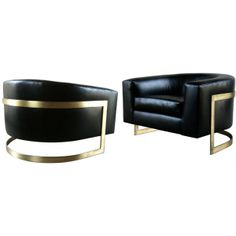 Pair of Rare Huge Milo Baughman Bronze Cantilevered Barrel Chairs found on Polyvore