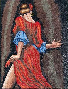 Flamenco Dancer Marble Mosaic Mural Art