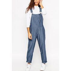 Blue Pocket Front Chic Denim Overalls ($32) ❤ liked on Polyvore featuring jumpsuits, rompers, denim overalls, blue overalls, denim bib overalls, blue rompers and denim rompers