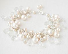 Freshwater Pearl and Quartz Bridal Bracelet Bridal Bracelet