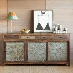 MARIETTA PRESSED TIN LARGE CONSOLE -- Lovingly crafted from reclaimed wood and pressed tin with plenty of storage and plenty of panache that suits any ambience. The wood is weathered and distressed with a waxed finish. Inspiration for my dresser 🍒 Reclaimed Furniture, Unique Furniture, Furniture Decor, Painted Furniture, Furniture Layout, Tin Tiles, Tin Ceiling Tiles, Sliding Door Panels, Pressed Tin