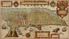 A Cidade De Angra. Na Ilha De Iesu Xpoda Tercera Que Esta Em 39 Graos. - 1596 Linschoten