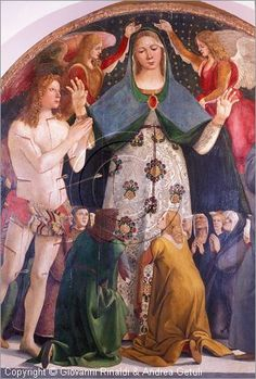 Luca Signorelli - Madonna della Misericordia tra San Sebastiano e San Bernardino - 1490 circa - Museo Diocesano d'Arte Sacra, Pienza