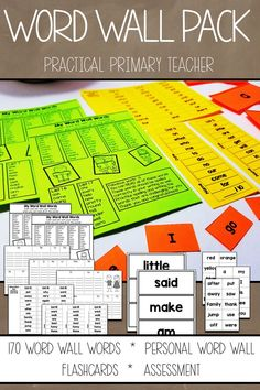 First grade word wall pack. 170 words on 17 lists. Flashcards, personal fill-in word wall, assessment piece. Middle School Classroom, First Grade Classroom, 1st Grade Math, Primary Classroom, Elementary Teacher, Elementary Library, Classroom Setup, 1st Grade Activities, Writing Activities