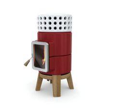 Poêle à bois Stack par Adriano Design - Pile rouge