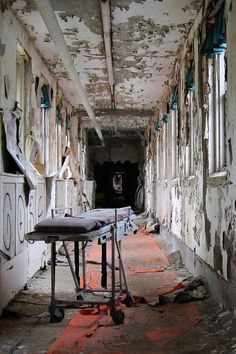 Medical gurney in the skyway of a New Jersey asylum