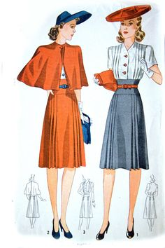 Love the look on the right! 1940s Simplicity Sewing Pattern PLEATED Blouse HIGH NIPPED Waist Skirt and Matching Cape // Pattern No 3821