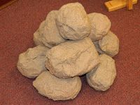 REVIEW GAME,  build an ALTAR.  The KIDDOS will answer a question from the lesson.  Then they will have the opportunity to set a stone in place.  Build Gideon's Altar.  (I paper mached  these ROCKS a LOOONG time ago.  I have used them in teaching so many different Bible Stories...if you have time and opportunity, I would suggest you make some ROCKS.)