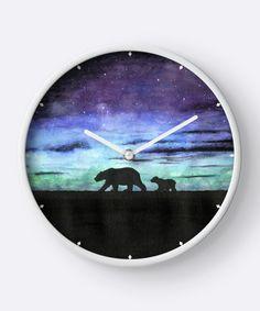 Aurora borealis and polar bears (dark version) Wall Clock by @savousepate on @redbubble