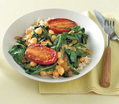 18 #Dinner Recipes Under 400 Calories from Real Simple. (Pictured: Chickpeas With Chard and Pan-Roasted Tomatoes) #veggie #lunch