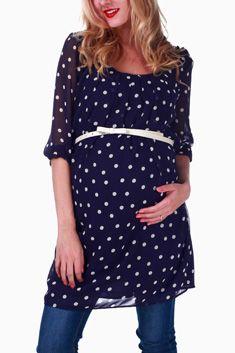 Navy Blue Polka Dot Chiffon Belted Maternity Blouse