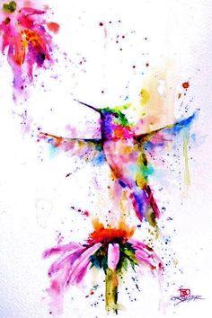 Art & Draw:: Humming bird & daisy flower watercolor design