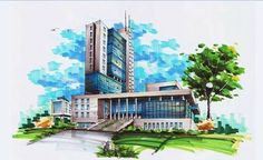 In this marker drawing, the interesting pixelated rendering of the background contrasts against the smooth, consistent tones of the building, intentionally placing the building into focus - similar to that of a camera (Pinned from Robert Izeti)