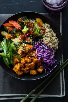 Korean Barbecue Tofu Bowls with Stir-Fried Veggies & Quinoa via Oh My Veggies