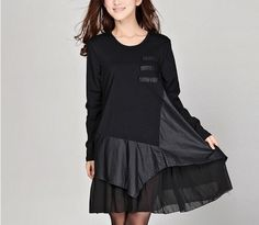 Fashion Women Black Dress with Chiffon Hem Long Sleeve Dress Autumn/ Fall Dress Plus Size Loose Fitting Dress Size L-3L