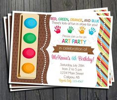 Art Party Birthday Invitation FREE Thank You by ForeverYourPrints