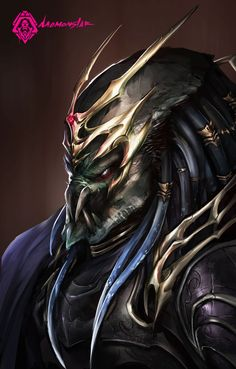 Slayer Predator fighting against hordes of aliens. This predator specializes melee attacks and uses acid-resistant armor and weapon. He also prefers using ancient weapons rather than using energy w. Predator Hunting, Alien Vs Predator, Predator Series, Predator Costume, Alien Concept Art, Horror Monsters, Alien Races, Alien Art, Sci Fi Art