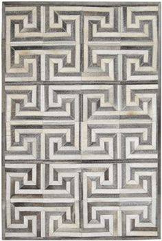 Greek Key Geometric Hide Rug - Grey & Cream | Scenario Home