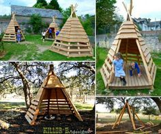 How to DIY Pallet Teepee Tutorial #diy, #pallet. #playhouse