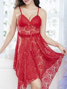 9f8ade370 Handkerchief Lace Sheer Slip Babydoll - RED ONE SIZE Camisola