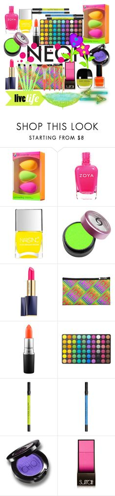 """""""NEON BEAUTY 💛💚💜💙"""" by seanahr ❤ liked on Polyvore featuring beautyblender, Nails Inc., Estée Lauder, MAC Cosmetics, BHCosmetics, Urban Decay, Christina Choi Cosmetics and Surratt"""