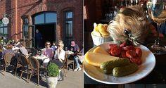 Le Petit Chaperon Rougessa on ilta-aurinkoinen terassi (vas.) ja oma baarikoira (oik.).