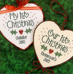 1st Christmas is the title of this cross stitch pattern from Lizzie Kate that is stitched with Weeks Dye Works (Garnet, Holly and Hunter) or...