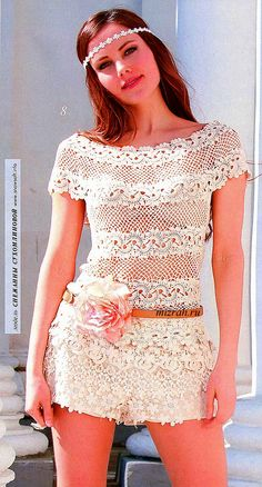By the summer: tunic top with a round ribbon lace yoke (hook). Comments: LiveInternet - Russian Service Online Diaries
