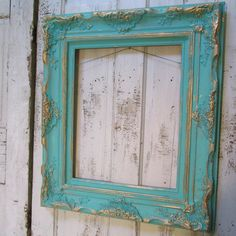 Large wall frame hand painted aqua large thick by AnitaSperoDesign